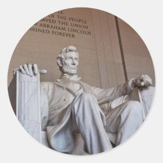 リンカーンの彫像のステッカー ラウンドシール