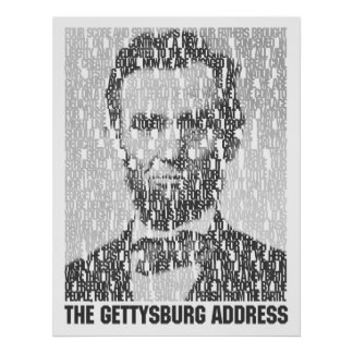 リンカーンまたはGettysburgの文字のモザイクポスター ポスター
