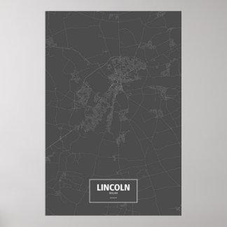 リンカーン、イギリス(黒で白い) ポスター