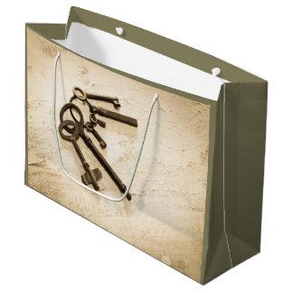 リングのギフトバッグの旧式な合い鍵 ラージペーパーバッグ