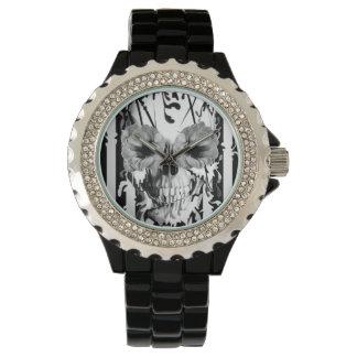 リンボー、ストライプのなケシのスカル 腕時計