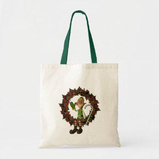 リースのクリスマスの休日のおもしろいな小妖精や小人 トートバッグ