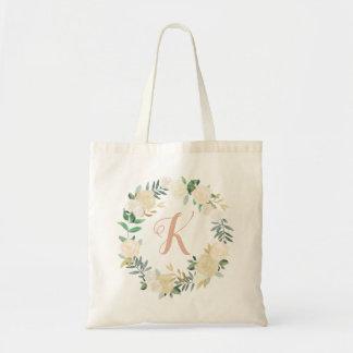 リースのモノグラム|の中立水彩画の開花 トートバッグ
