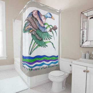リードを持つマガモ シャワーカーテン