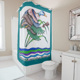 リード3を持つマガモ シャワーカーテン