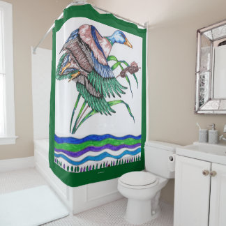 リード4を持つマガモ シャワーカーテン