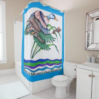 リード5を持つマガモ シャワーカーテン