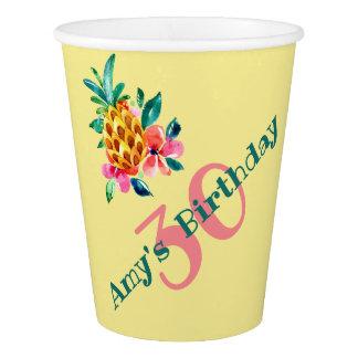 ルアウ(ハワイ式宴会)のパーティーのための熱帯水彩画のパイナップル 紙コップ
