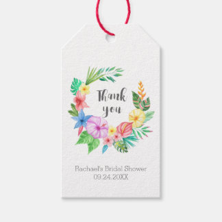 ルアウ(ハワイ式宴会)の熱帯花のブライダルシャワーは感謝していしています ギフトタグ
