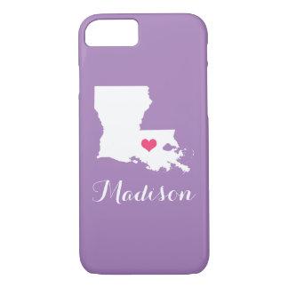 ルイジアナのハートの薄紫のカスタムのモノグラム iPhone 8/7ケース