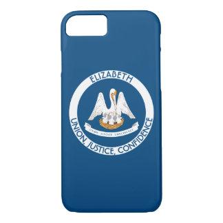 ルイジアナのペリカンの州の名前入りな旗 iPhone 8/7ケース