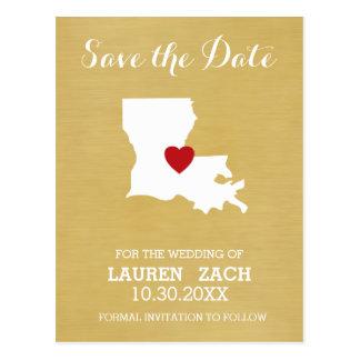 ルイジアナの故郷の州の地図-結婚式の保存日付 ポストカード