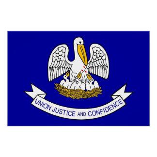 ルイジアナの旗が付いている愛国心が強い壁ポスター ポスター