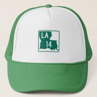ルイジアナの緑及び白人のハイウェー14のトラック運転手の帽子 キャップ