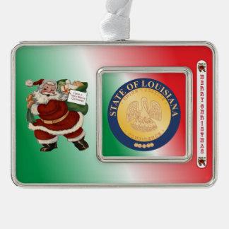 ルイジアナサンタクロースのクリスマスのオーナメント シルバープレートフレームオーナメント
