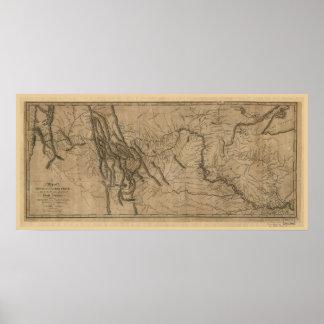 ルイスおよびクラークトラック地図 ポスター