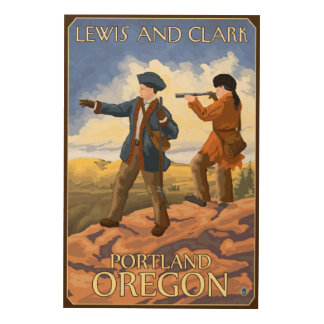 ルイスおよびクラーク-ポートランド、オレゴン ウッドウォールアート