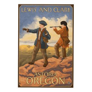 ルイスおよびクラーク- Astoria、オレゴン ウッドウォールアート