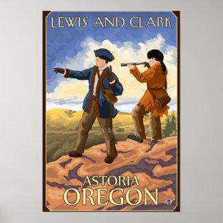 ルイスおよびクラーク- Astoria、オレゴン ポスター
