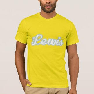 ルイスのTシャツの白く青いロゴ Tシャツ