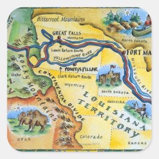 ルイス及びクラーク探険の地図 スクエアシール