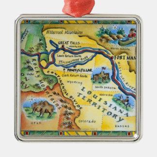 ルイス及びクラーク探険の地図 メタルオーナメント