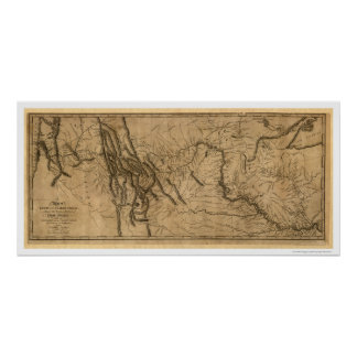 ルイス及びクラーク探険の地図- 1804年 ポスター