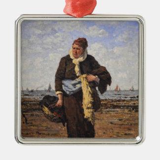 ルイ著Honfleurの貝の売り手Dubourg メタルオーナメント