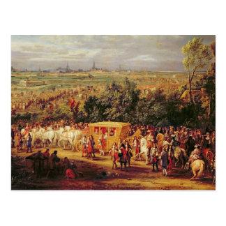 ルイ14世およびMarieテレーズの記入項目の ポストカード