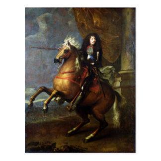 ルイ14世c.1668の乗馬のポートレート ポストカード