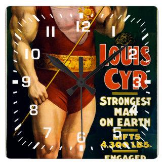 ルイCyrの地球の強い人 スクエア壁時計