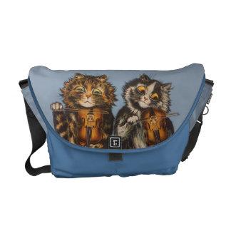 ルイWain -ヴィンテージ猫のバイオリン奏者の人力車のバッグ クーリエバッグ