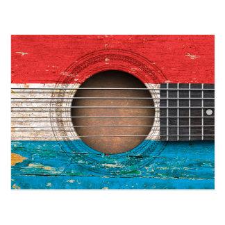 ルクセンブルクは古いアコースティックギターで印を付けます ポストカード