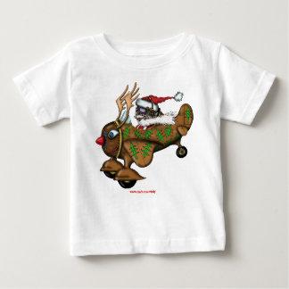 ルドルフの平らなベビーのTシャツのサンタのおもしろいなパイロット ベビーTシャツ