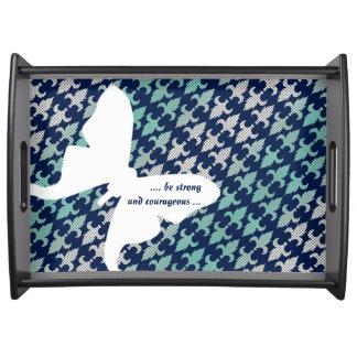 ルナガのバッファローの格子縞のダマスク織のミントの真夜中の青 トレー