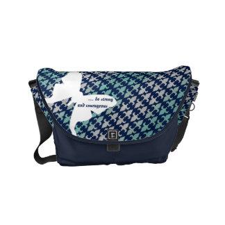 ルナガのバッファローの格子縞のダマスク織のミントの真夜中の青 メッセンジャーバッグ