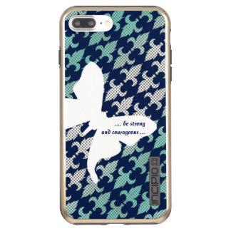 ルナガのバッファローの格子縞のダマスク織のミントの真夜中の青 INCIPIO DualPro SHINE iPhone 8 PLUS/7 PLUSケース