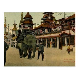 ルナパークのコニーアイランド1910年の象の乗車 ポストカード
