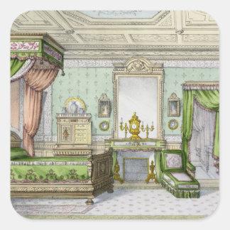 ルネサンスのスタイル(色のlitho)の寝室 正方形シールステッカー