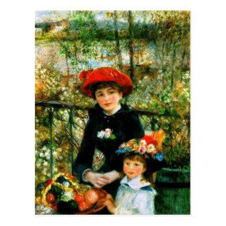 ルノアールの「Terraceの2人の姉妹、 ポストカード