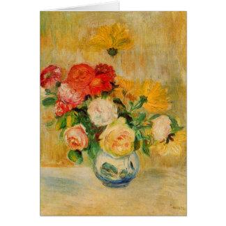 ルノアール著バラそしてダリア カード