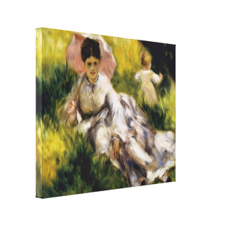 ルノアール著パラソルを持つ女性 キャンバスプリント
