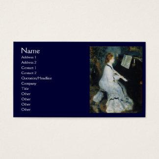 ルノアール著ピアノの若い女性 名刺