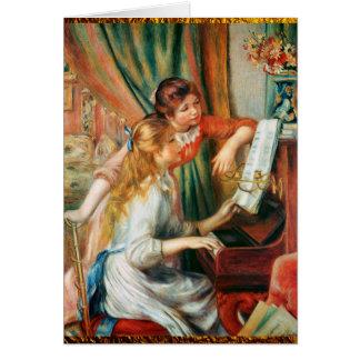 ルノアール著ピアノの2人の女の子 カード