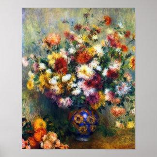 ルノアール著菊のファインアートのつぼ ポスター