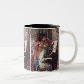 ルノアール: ピアノの女の子 ツートーンマグカップ