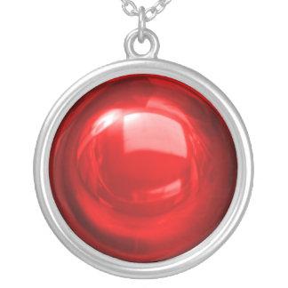 ルビー色のつまらないもののネックレス シルバープレートネックレス