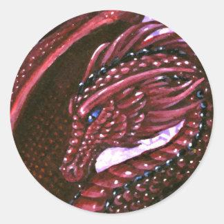 ルビー色のドラゴンのステッカー ラウンドシール