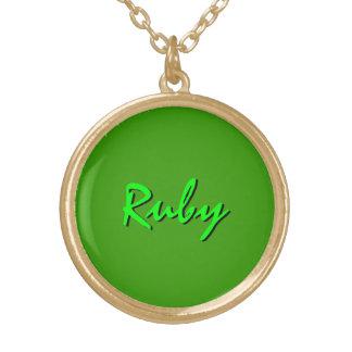 ルビー色のネックレス ゴールドプレートネックレス