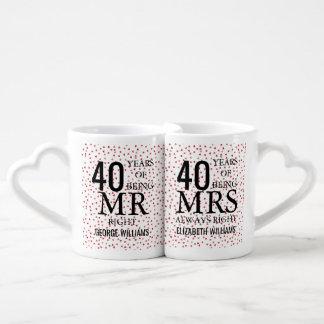 ルビー色のハートの紙吹雪第40記念日の氏夫人Right ペアカップ